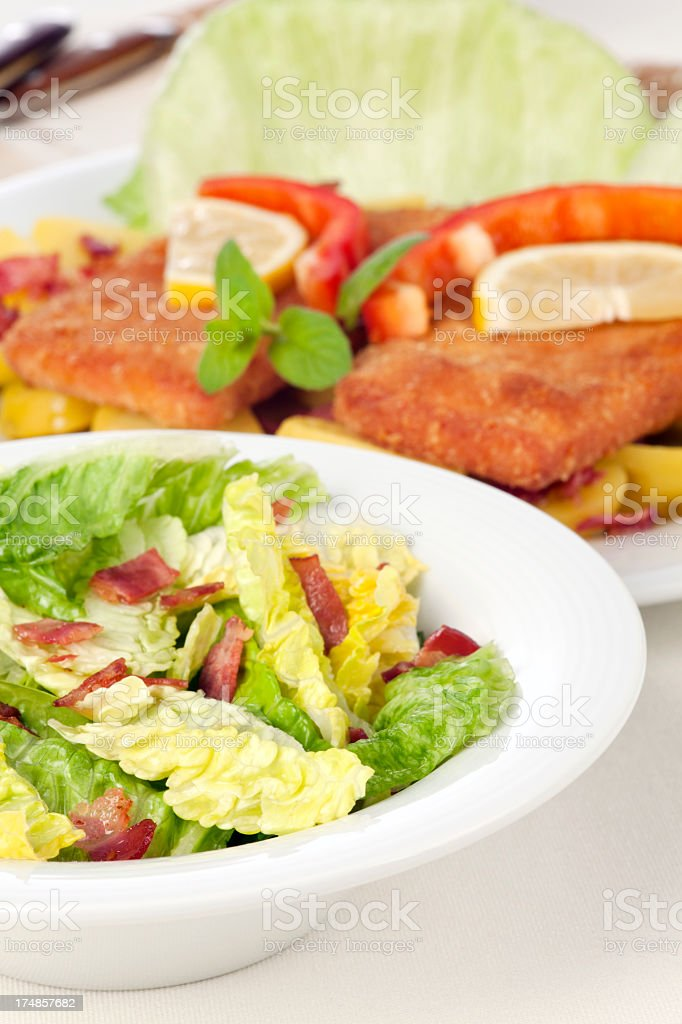 Salad with fried Bavarian meatloaf royalty-free stock photo