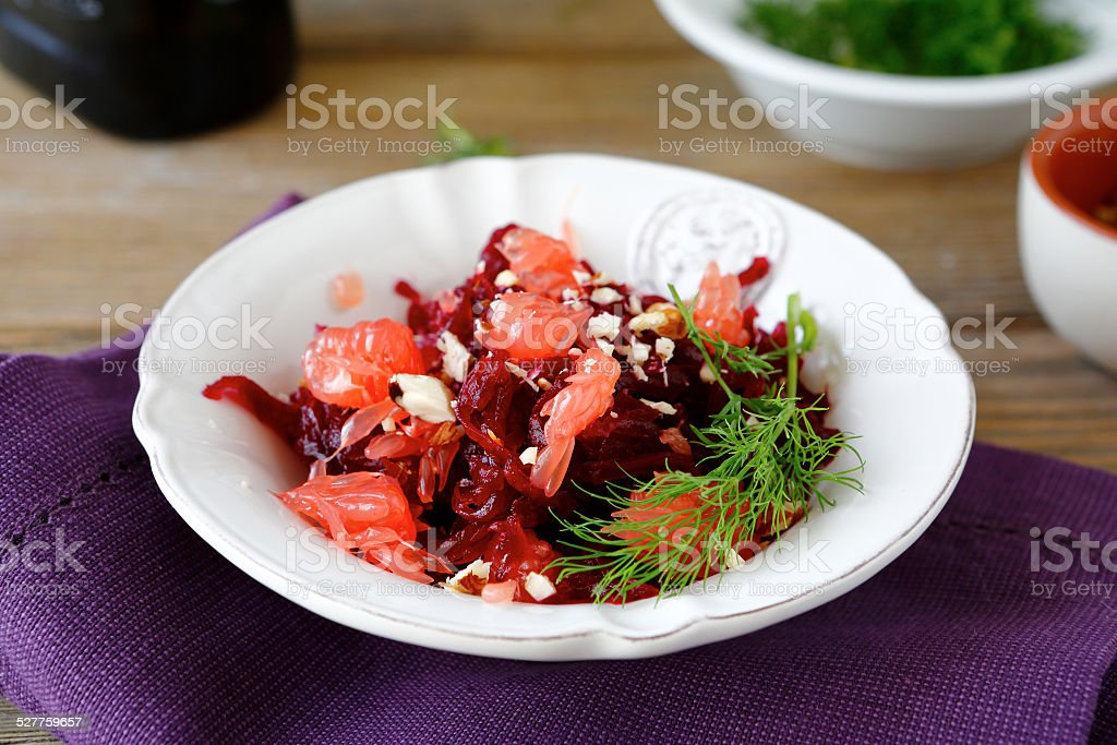 Salad with grapefruit and beetroot stock photo