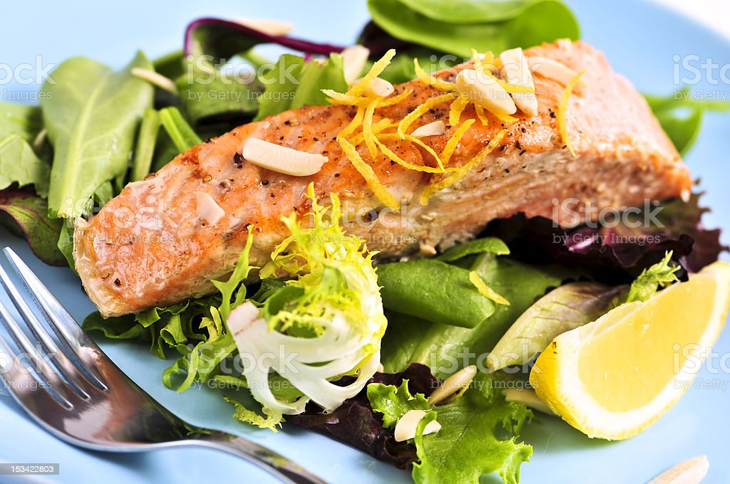 Salad with grilled salmon royalty-free stock photo