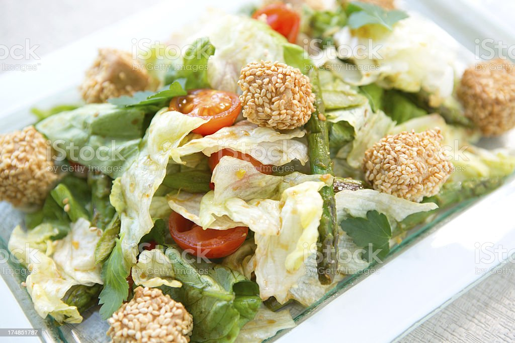 Salad with grilled tofu. stock photo
