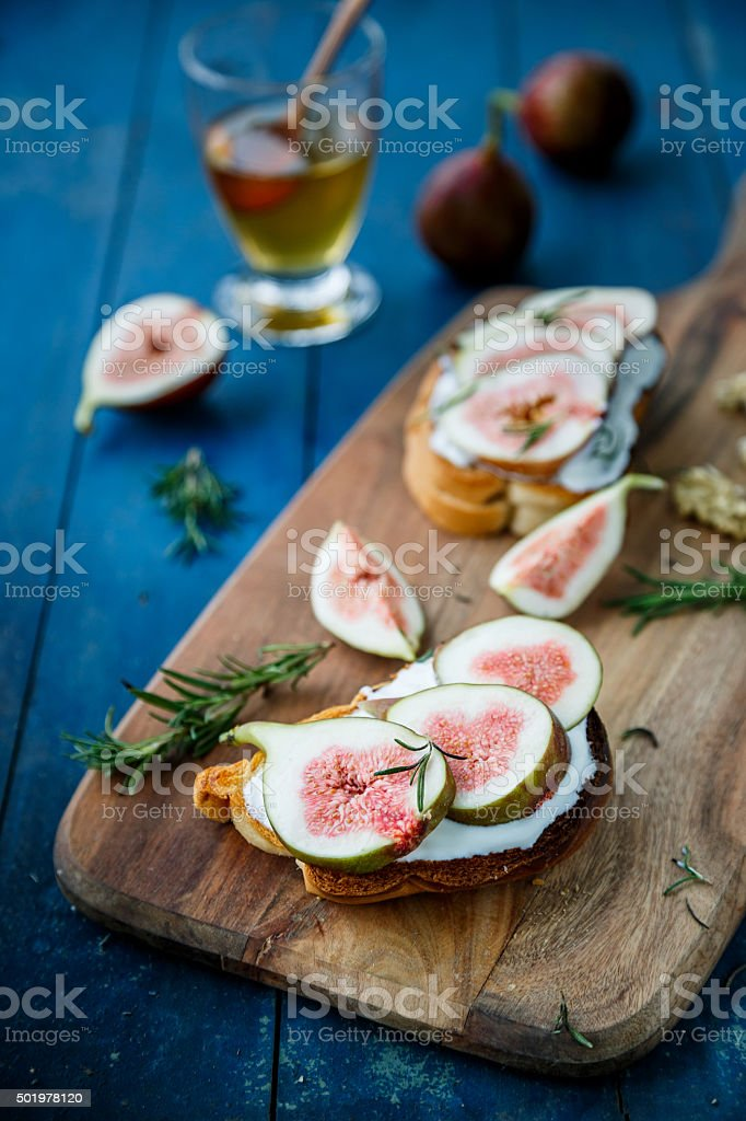 Salad with honey and fig stock photo