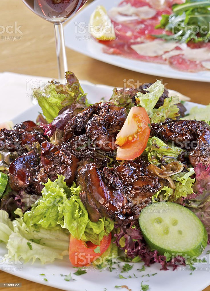 Salad with liver  stock photo