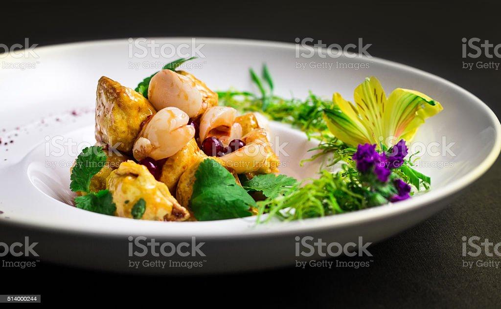 Salad with meat and shiitake mushrooms stock photo
