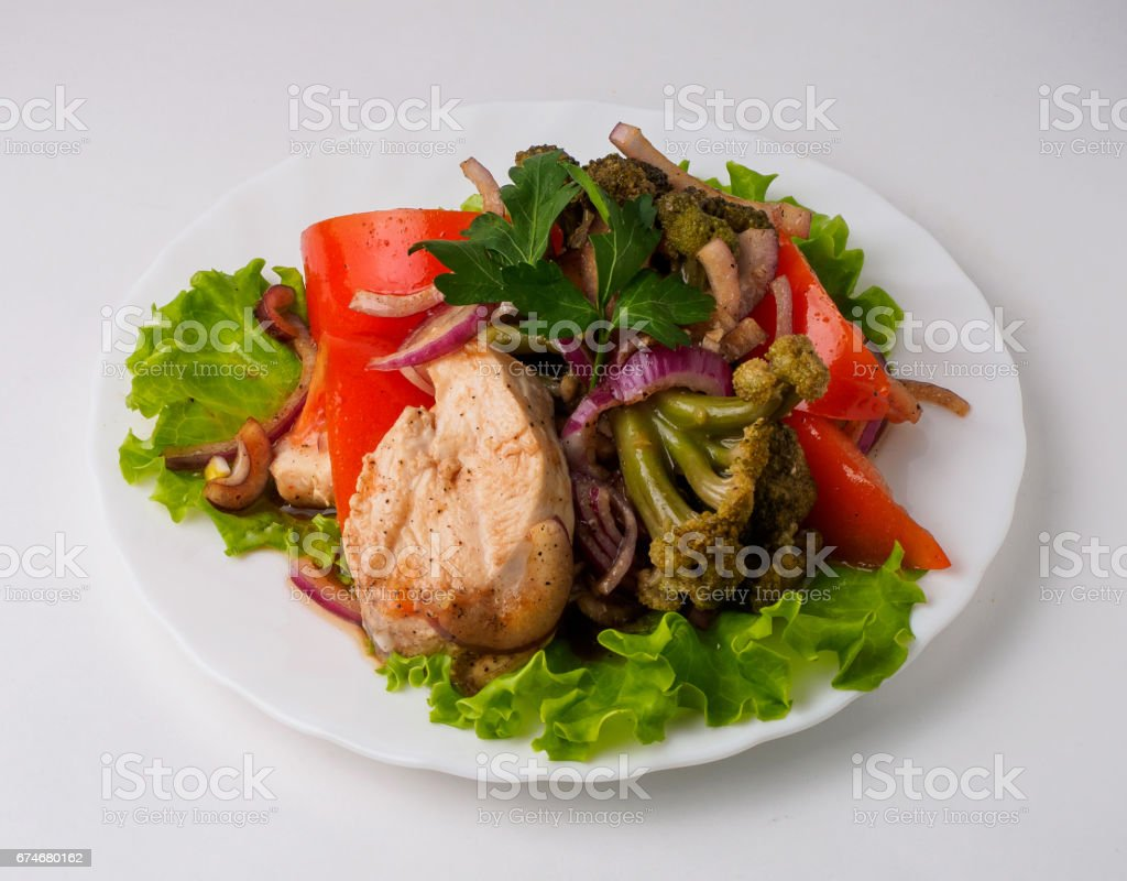 Salad with meat pepper and vegetables. stock photo