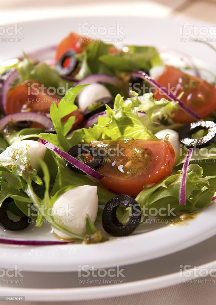 Salad with mozzarella royalty-free stock photo