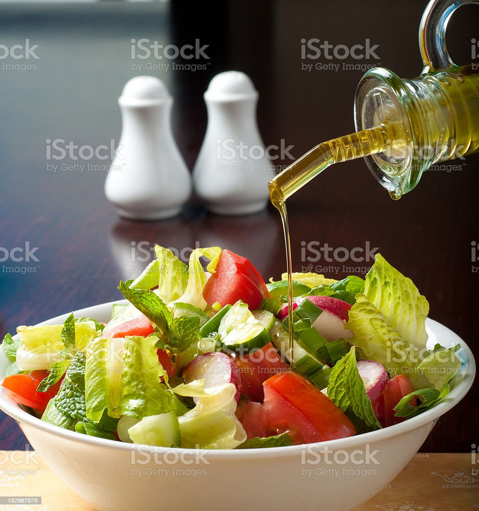 salad with olive oil royalty-free stock photo