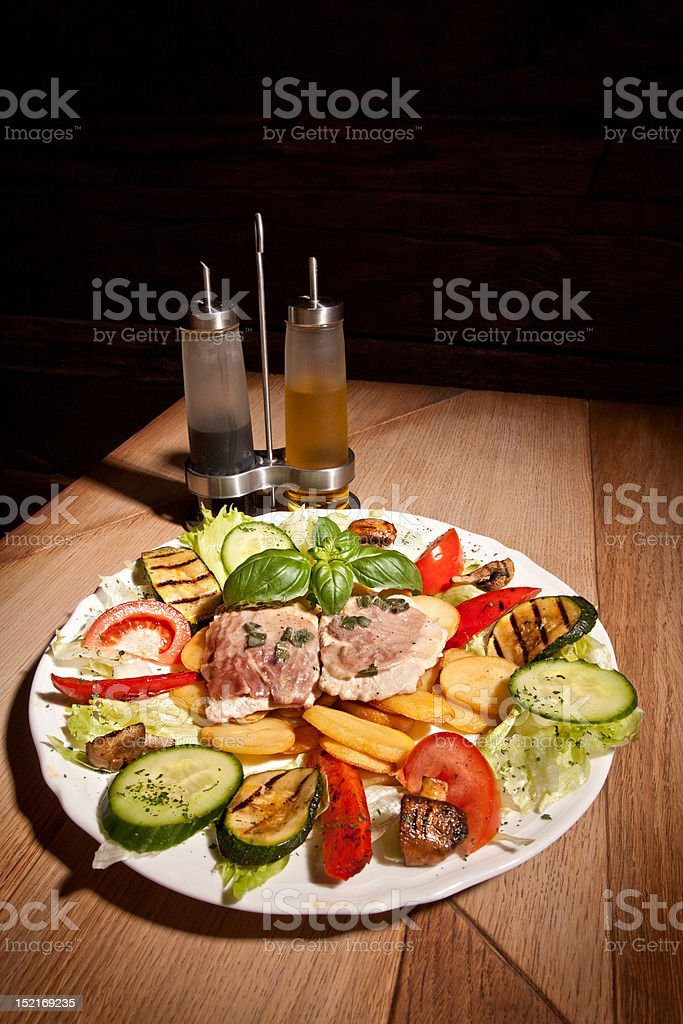 Salad with potatos and meat royalty-free stock photo