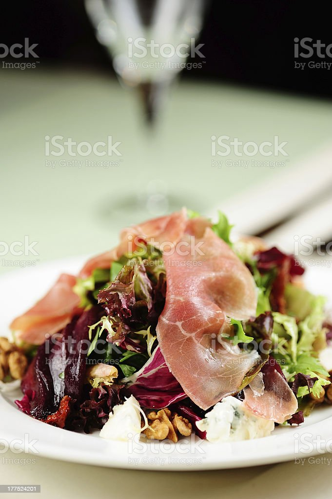 salad with prosciutto and beetroot royalty-free stock photo