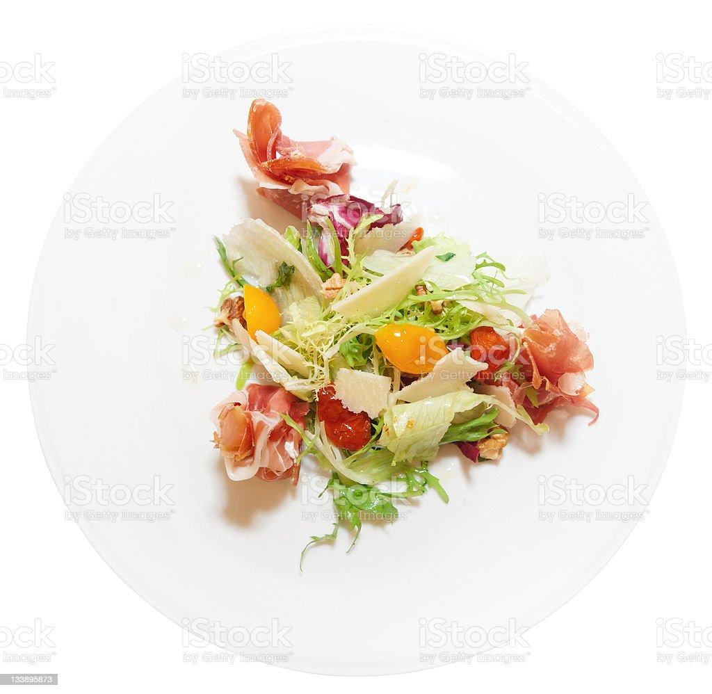 Salad with prosciutto ham royalty-free stock photo