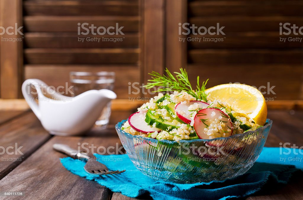 Salad with quinoa and vegetables stock photo