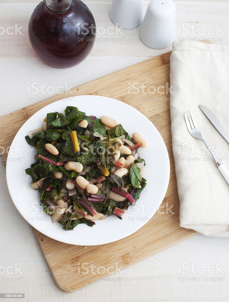 Salad with rainbow chard and beans stock photo