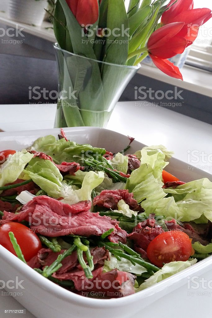Salad with roast beef and samphire stock photo