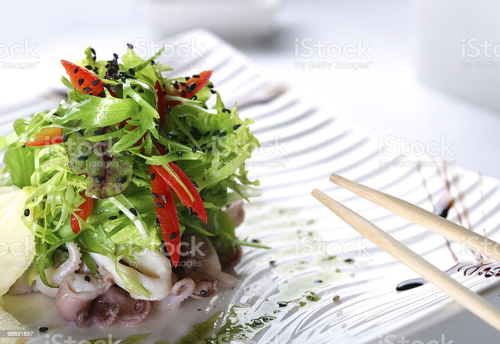 salad with rucola and octopus royalty-free stock photo