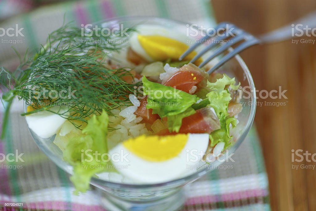 salad with salmon and rice  vegetables royalty-free stock photo