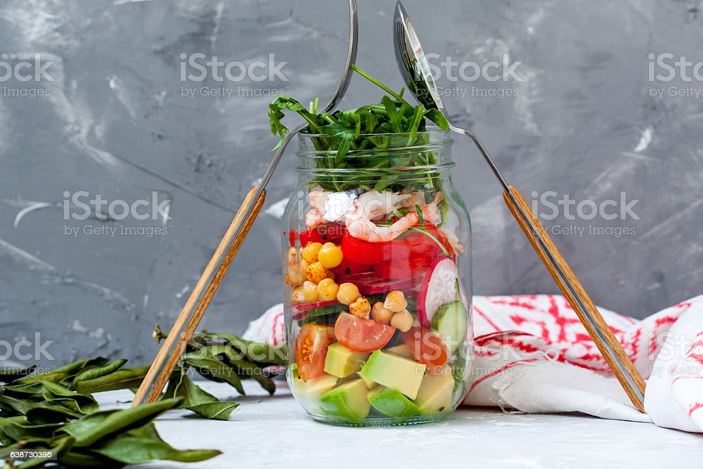 Salad with shrimp and chickpeas stock photo