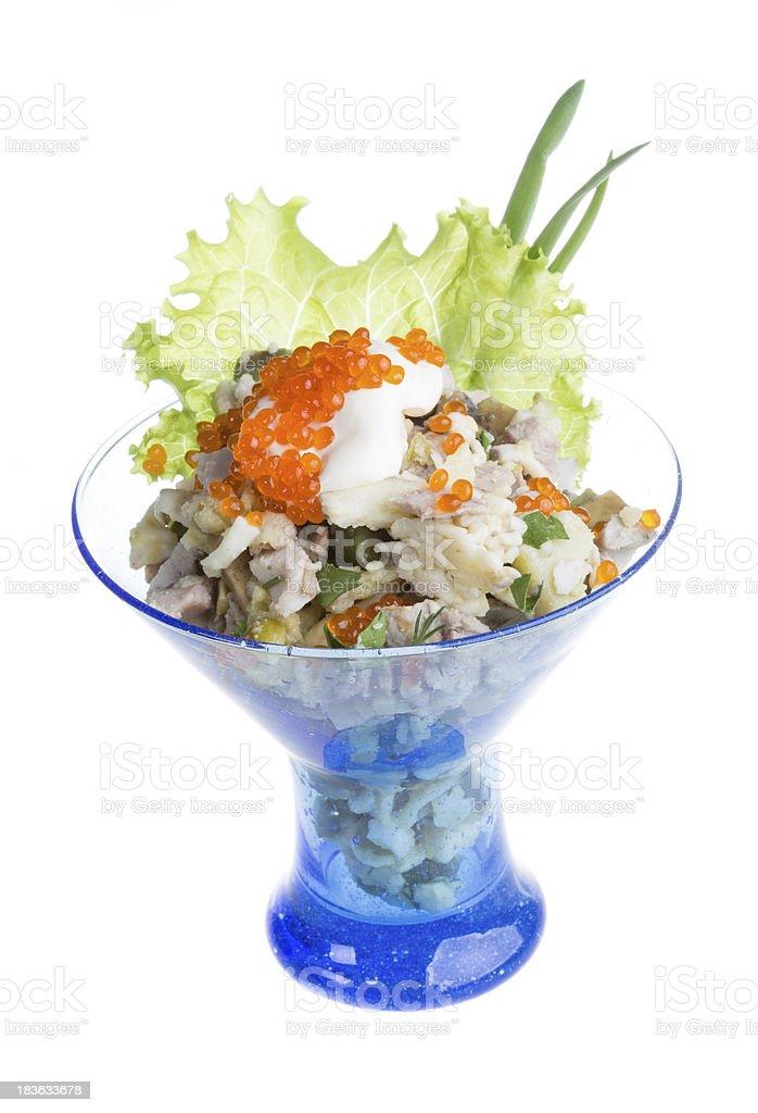 Salad with shrimp, avocado, tomatoes, red caviar royalty-free stock photo