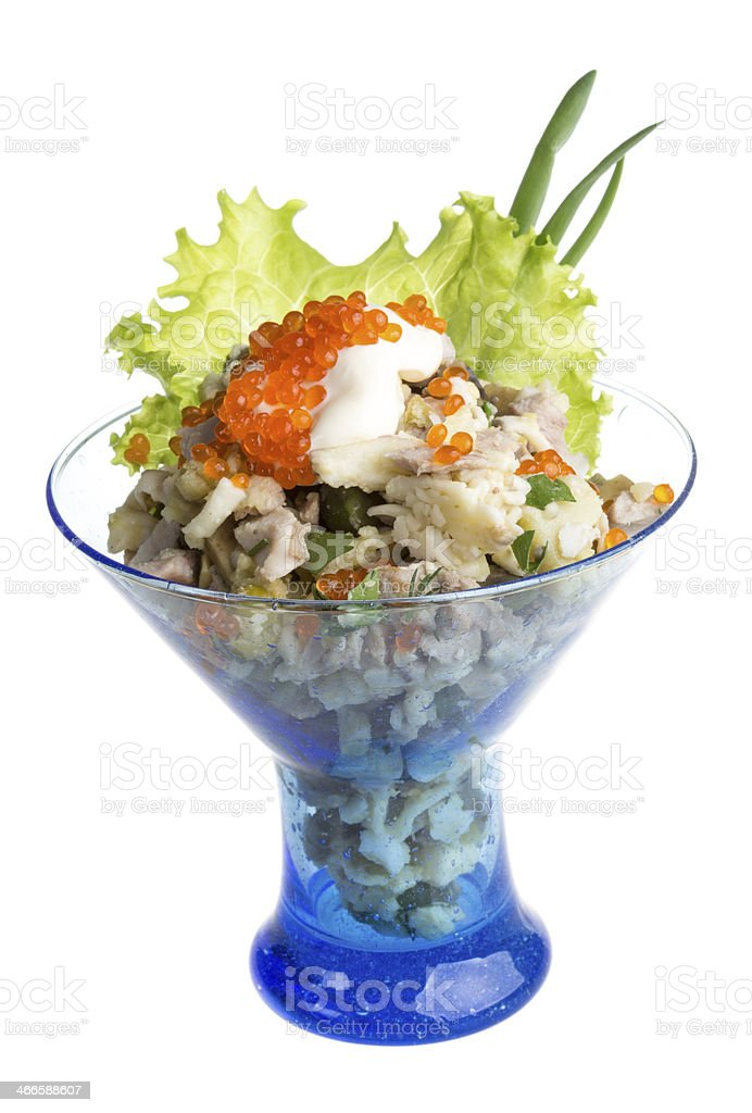 Salad with shrimp, avocado, tomatoes, red caviar royalty-free stock photo