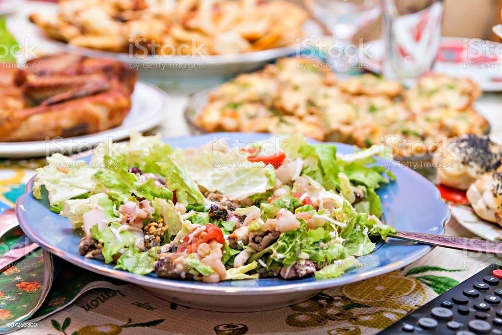 salad with shrimp on a festive table stock photo