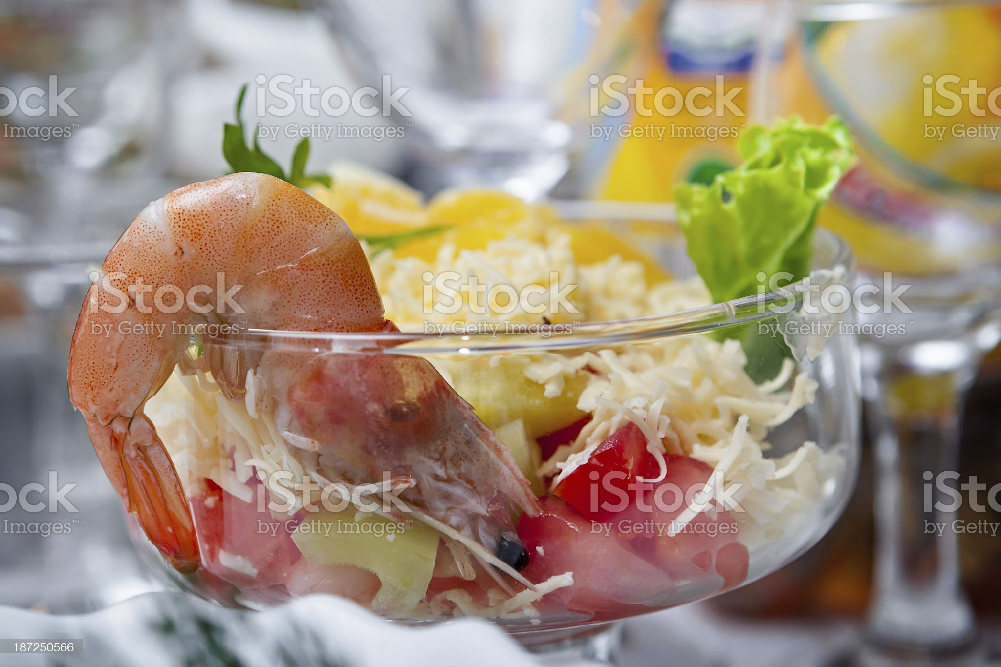 Salad with shrimps on the festive table. royalty-free stock photo