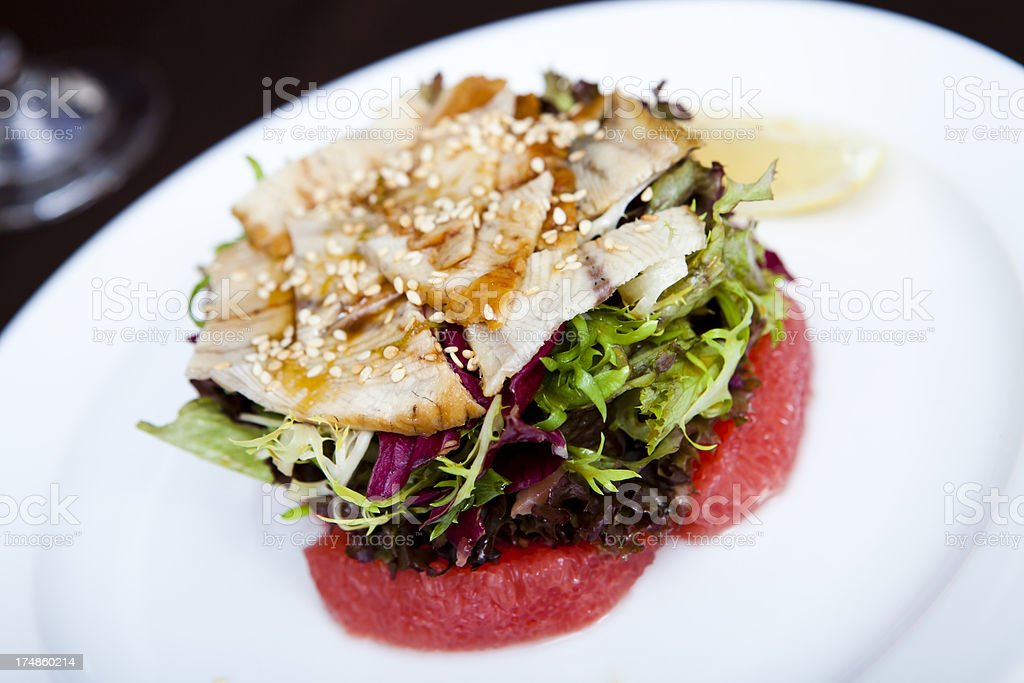 Salad with smoked eel royalty-free stock photo