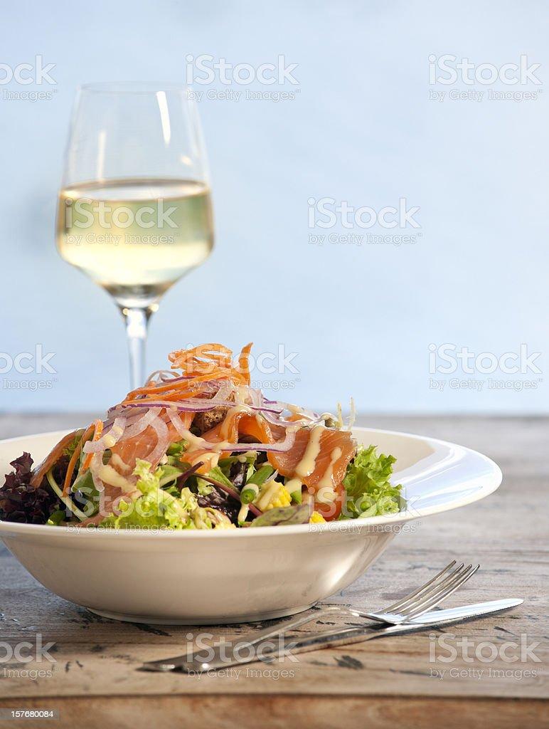 salad with smoked salmon on lollo bionda lettuce XXXL image royalty-free stock photo
