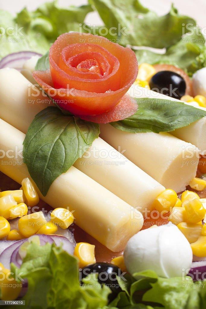 Salad with tomato rose stock photo