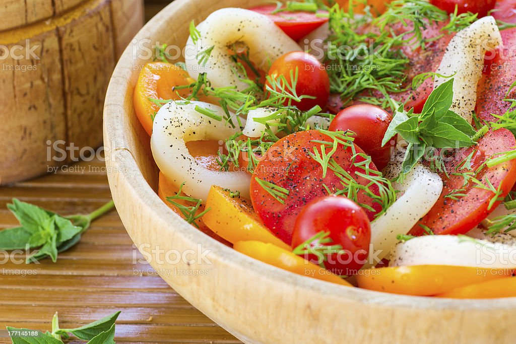 salad with tomatoes and squid royalty-free stock photo
