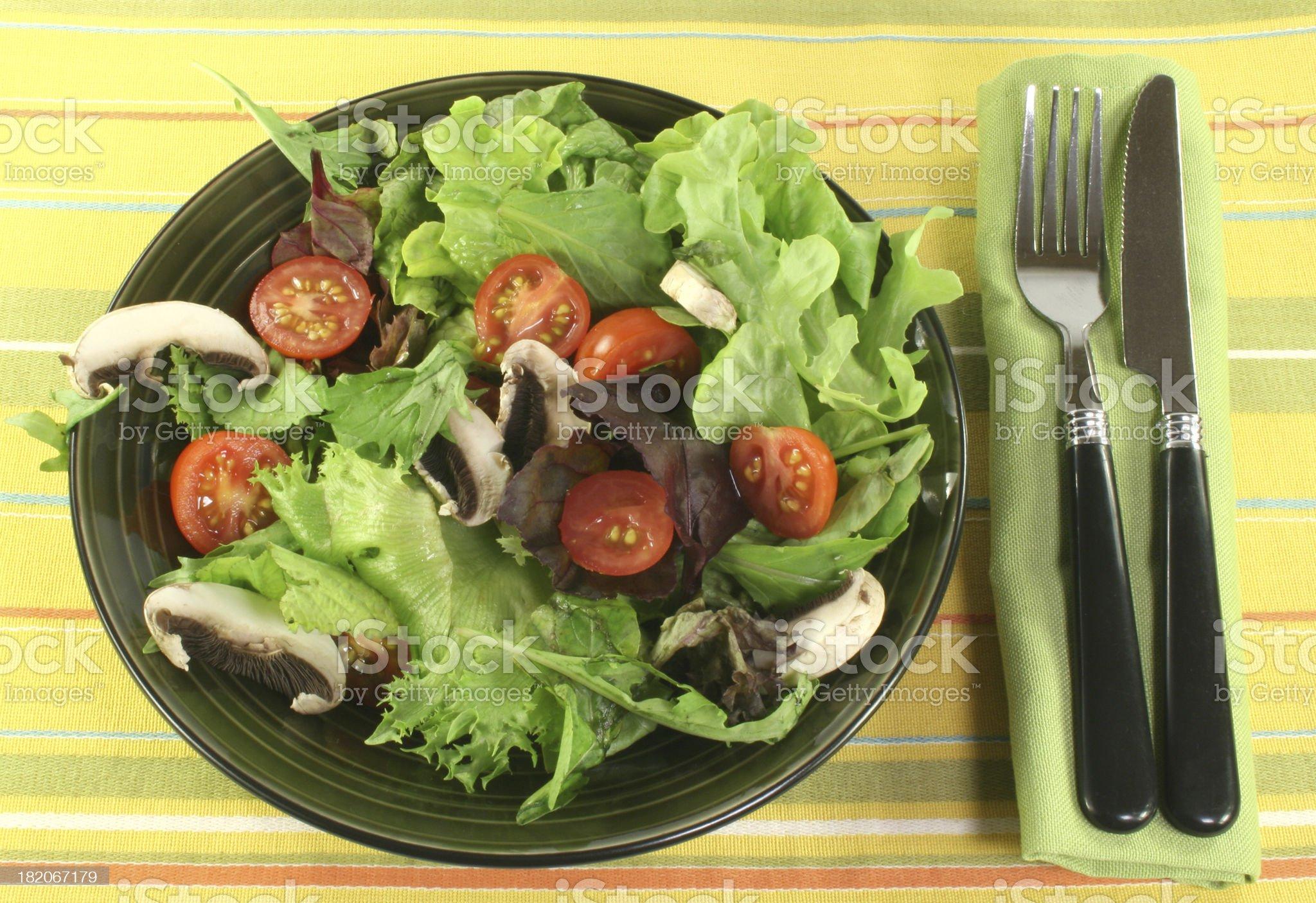 salad with tomatos, greens and mushrooms royalty-free stock photo