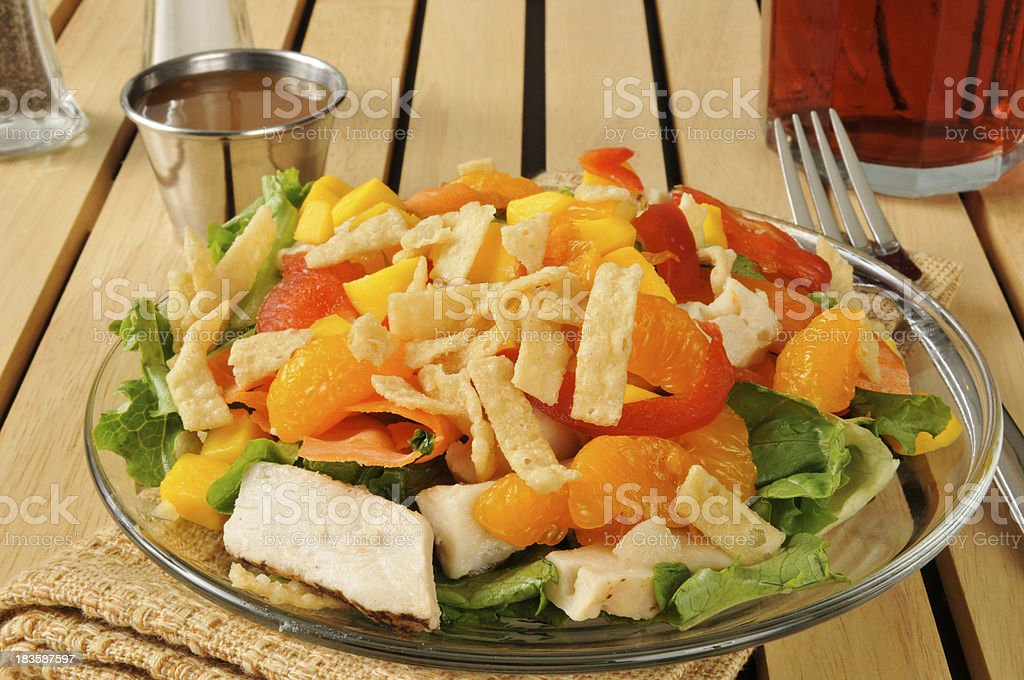 Salad with tropical fruit and chicken stock photo