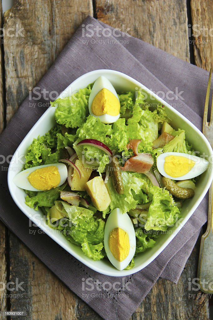 Salad with tuna, cucumber and eggs. stock photo