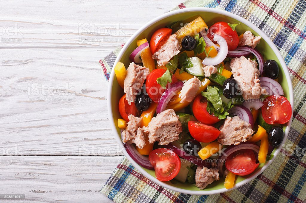 salad with tuna fish and vegetables horizontal top view stock photo