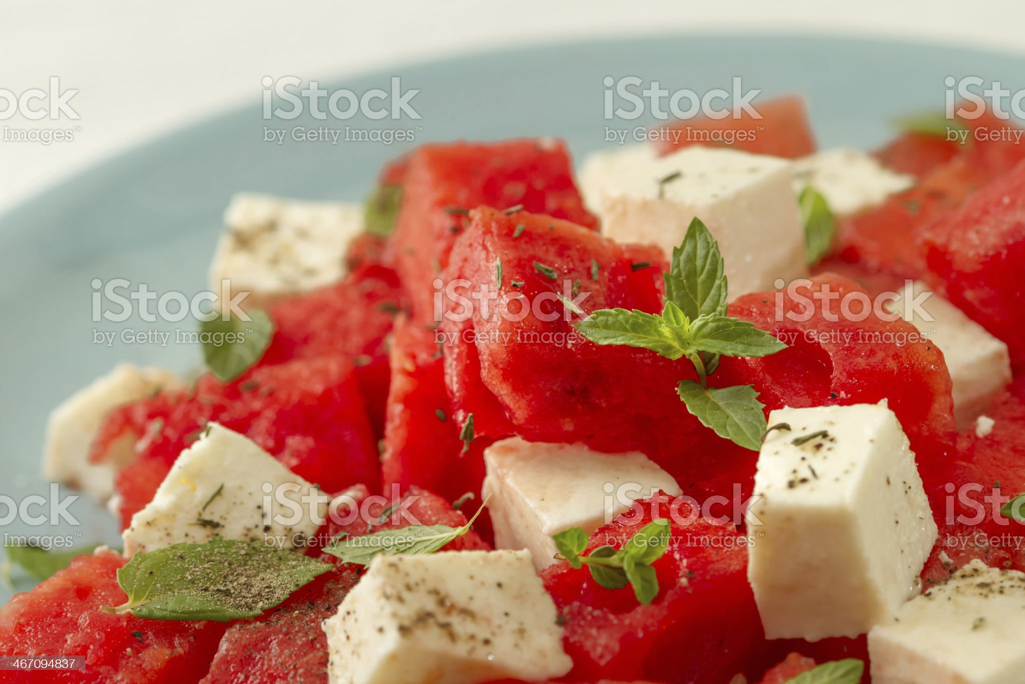 salad with watermelon and feta cheese royalty-free stock photo