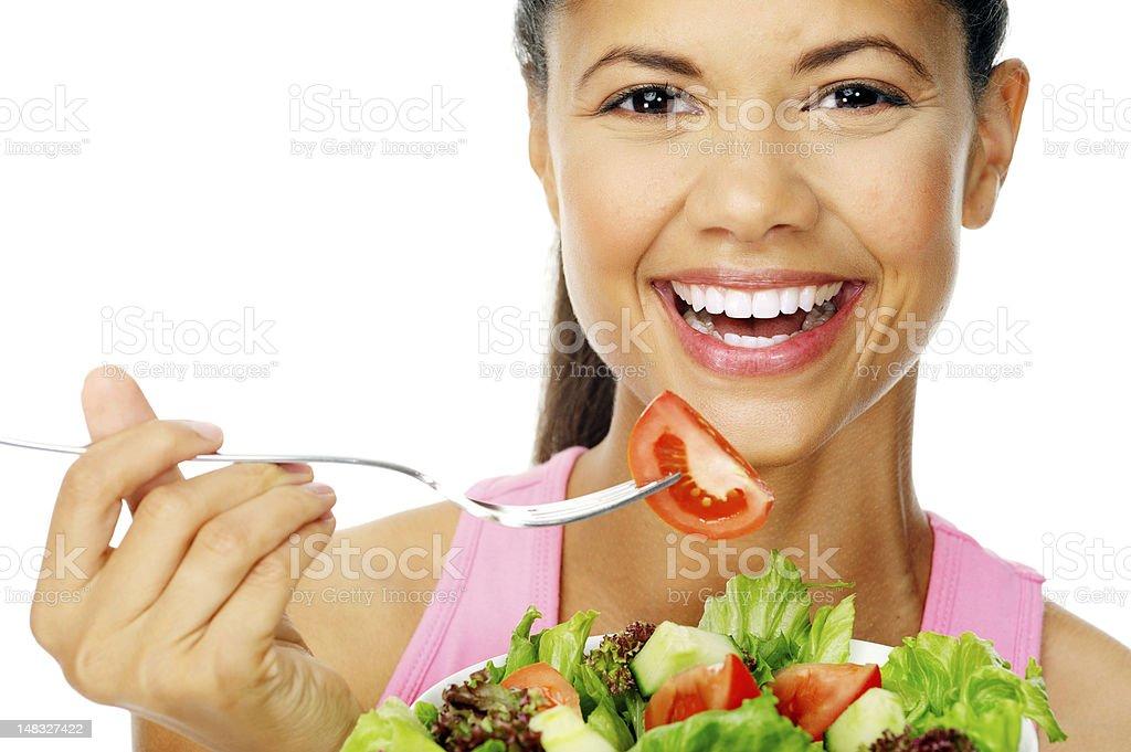 salad woman happy royalty-free stock photo