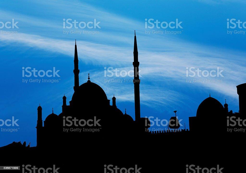 Saladin Citadel in Cairo in dark shadow stock photo