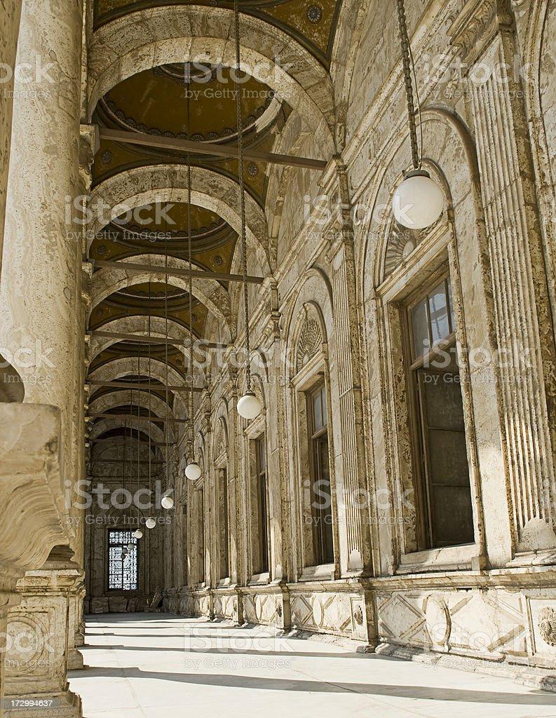 Saladin Citadel of Cairo, Egypt column and light stock photo