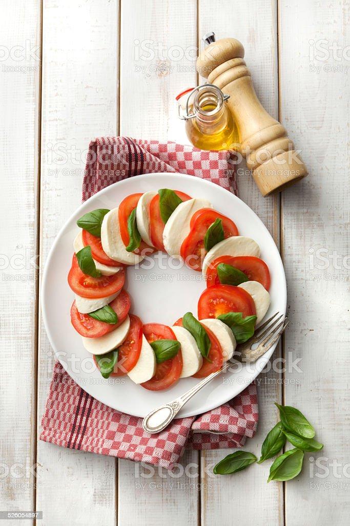 Salads: Caprese Salad Still Life stock photo