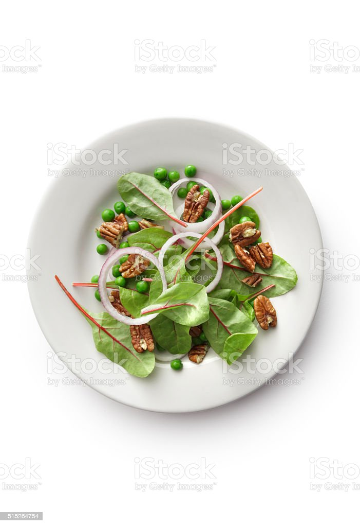 Salads: Chard, Onion, Pecan and Peas Isolated on White Background stock photo