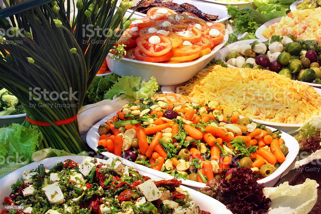 Salads in a self service restaurant stock photo