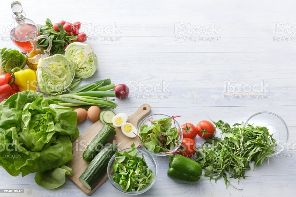 Salads: Ingredients for Salad Still Life stock photo