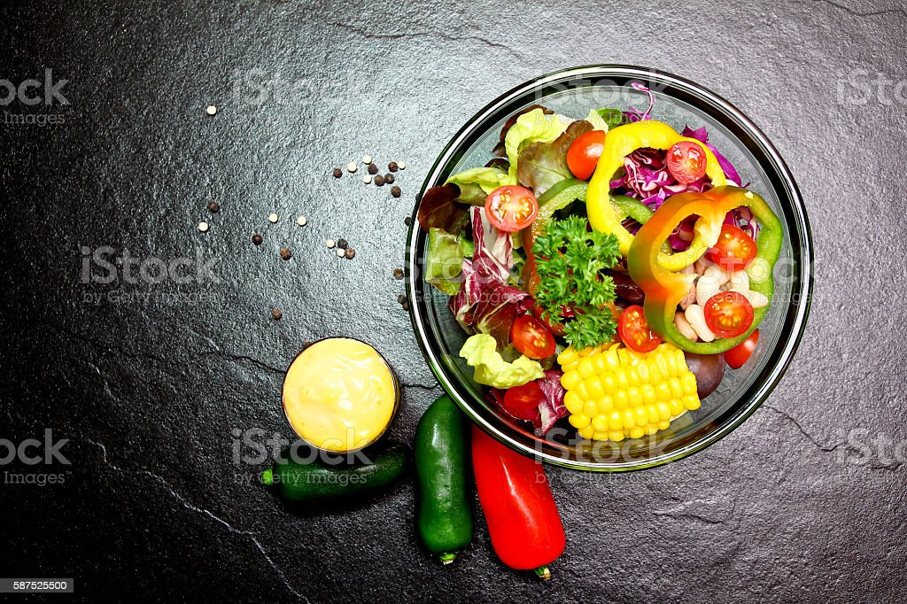 Salads vegetables and fruit stock photo