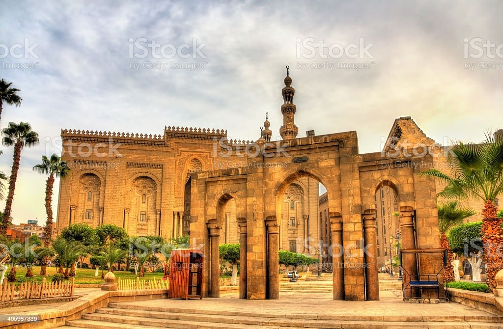 Salah ed Din Street: passage between Al Rifai Mosque stock photo
