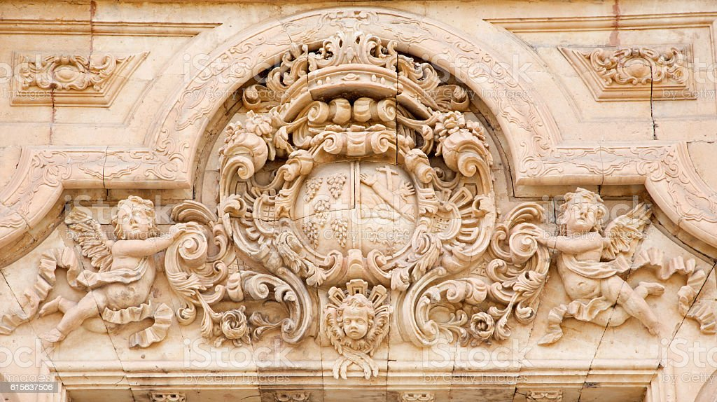 Salamanca  - baroque portal on st. Francis of Asissi church stock photo