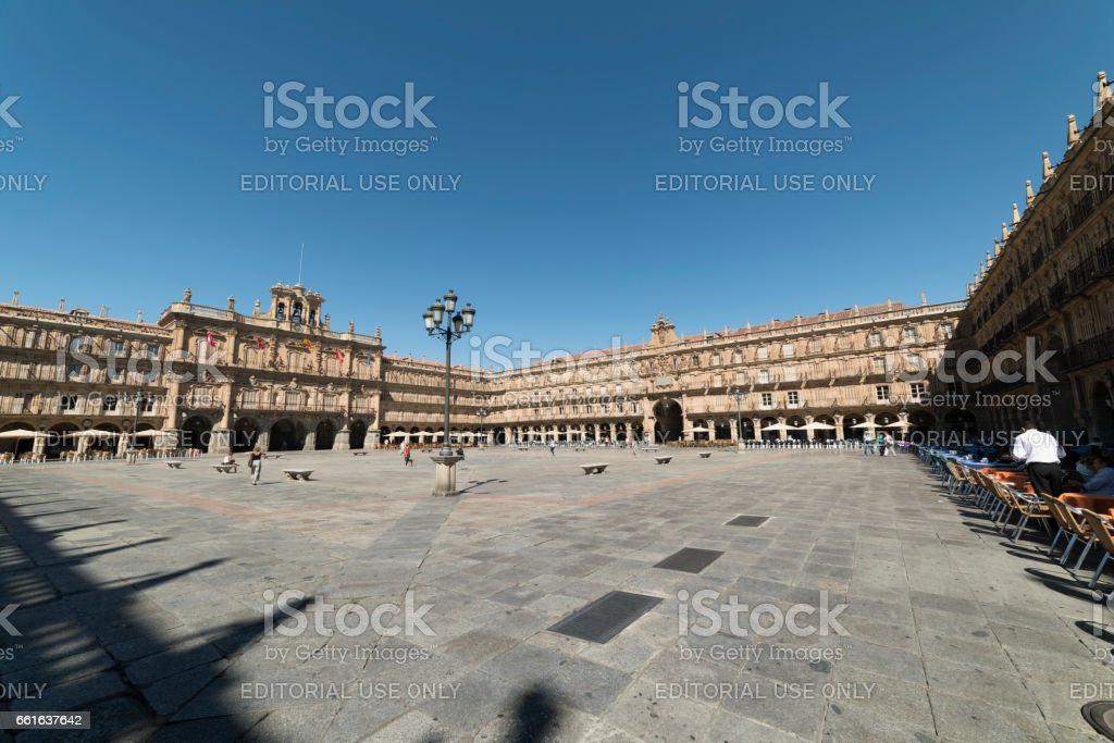 Salamanca (Spain): historic Plaza Mayor stock photo