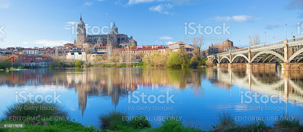 Salamanca - The Cathedral and bridge stock photo