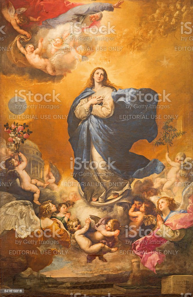 Salamanca - The Immaculate conception painting stock photo
