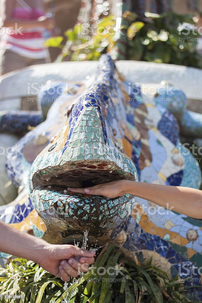 Salamander fountain, parc Guell royalty-free stock photo