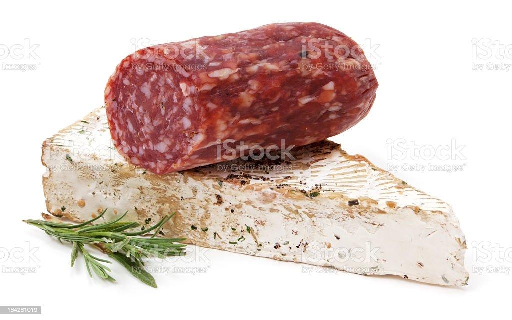 Salami aand cheese stock photo