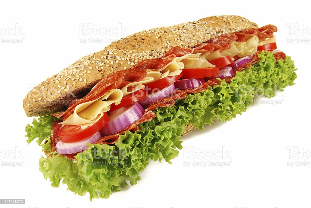 Salami & cheese baguette sandwich on white backgrounc stock photo