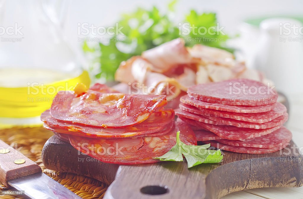 salami and bacon royalty-free stock photo