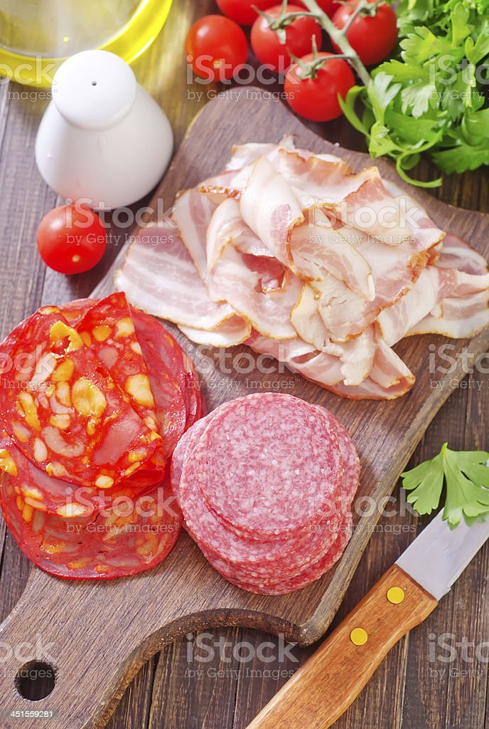 salami and bacon royalty-free stock photo